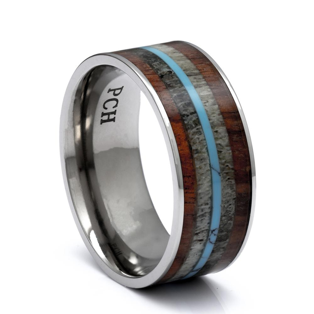 Titanium Ring With Deer Antler, Koa Wood and Turquoise, 9mm Comfort Fit Wedding Band - PCH Rings
