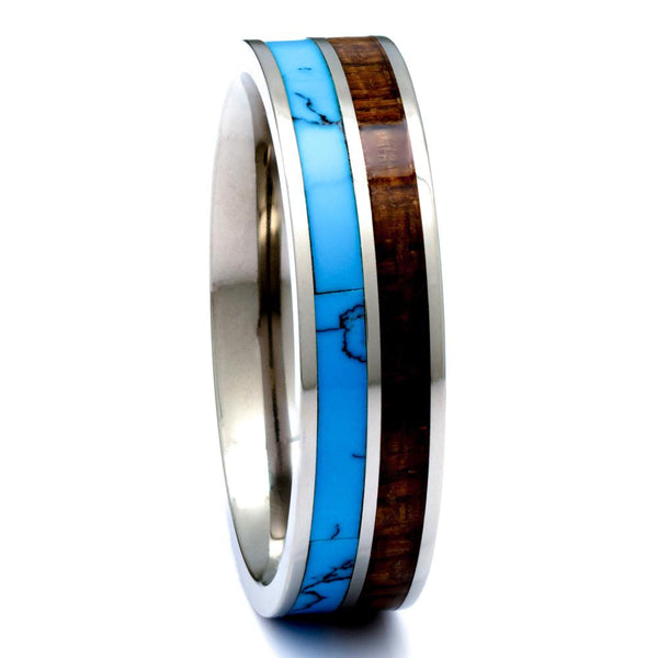 Hawaiian Koa Wood Ring With Turquoise Inlay, Titanium 6mm Comfort Fit Wedding Band - PCH Rings