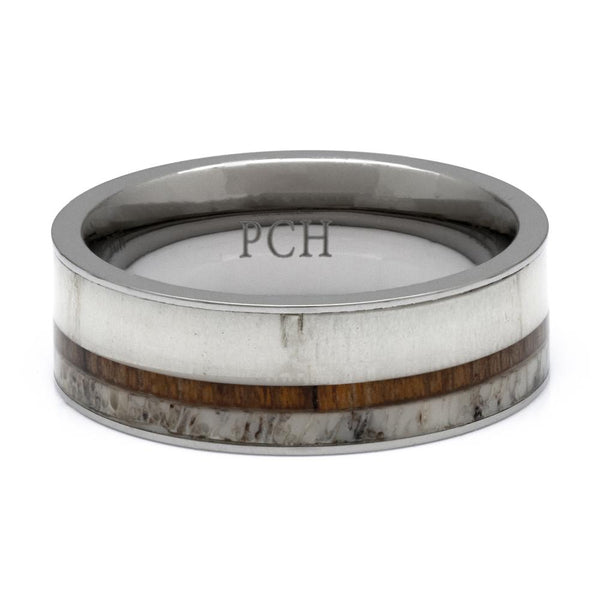 Titanium Deer Antler Ring With Koa Wood Inlay, 8mm Comfort Fit Wedding Band - PCH Rings