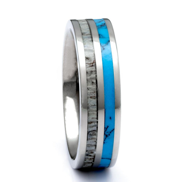 Titanium Deer Antler ring With Turquoise Inlay, 6mm Comfort Fit Wedding Band - PCH Rings