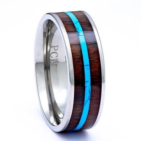 Titanium Ring With Hawaiian Koa Wood Inlay and Turquoise, 8mm Comfort Fit - PCH Rings