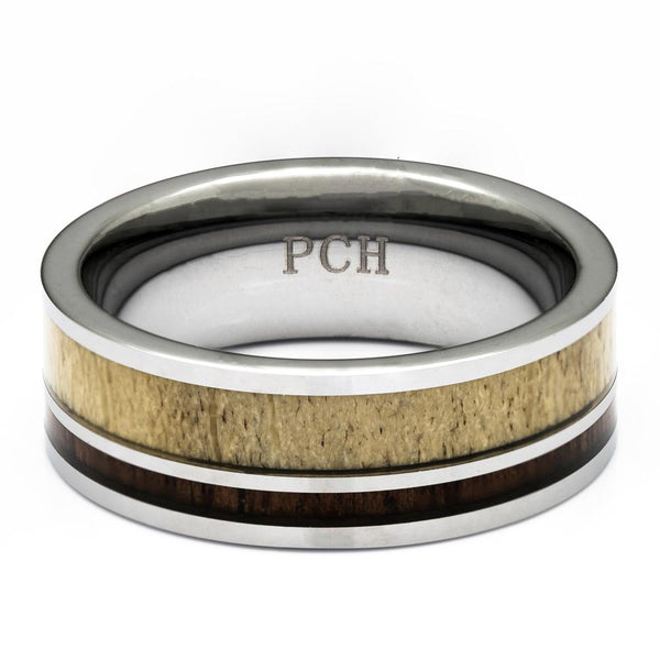 Men's Deer Antler Ring In Tungsten With Koa Wood Inlay, 8mm Comfort Fit Wedding Band - PCH Rings
