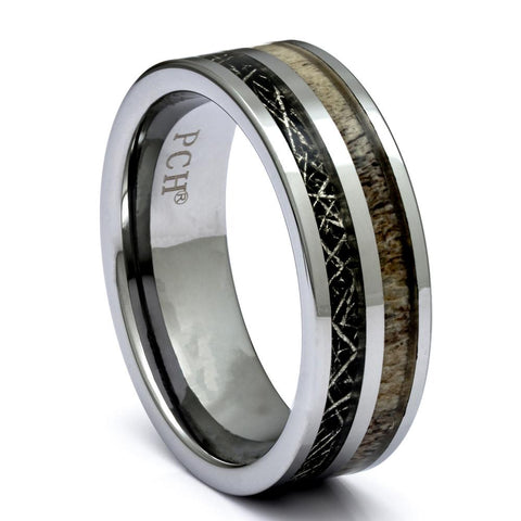 Men's Tungsten Ring With Deer Antler and Meteorite Inlay, 8mm Comfort Fit Wedding Band - PCH Rings