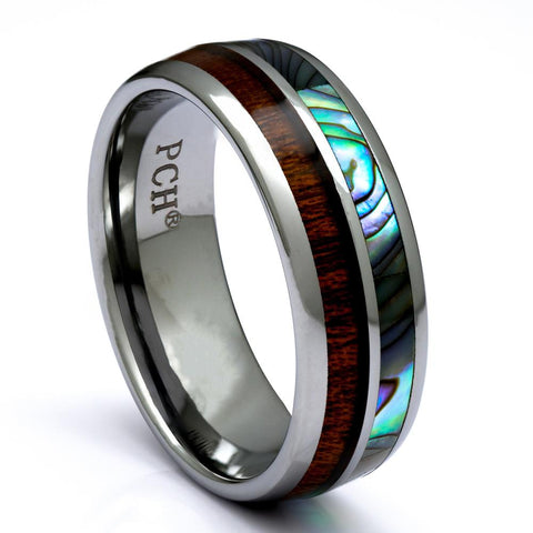 Mens Tungsten Wood Ring with Abalone and Koa Wood, 8mm Comfort Fit Wedding Band - PCH Rings