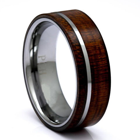 Hawaiian Koa Wood Ring, Tungsten Carbide 8mm Comfort Fit Wedding Band - PCH Rings