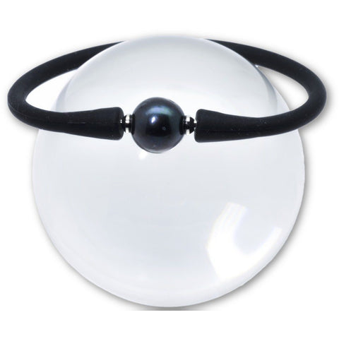 Freshwater Pearl Bracelet Set in a Black Silicone Rubber 10mm Black Pearl - PCH Rings