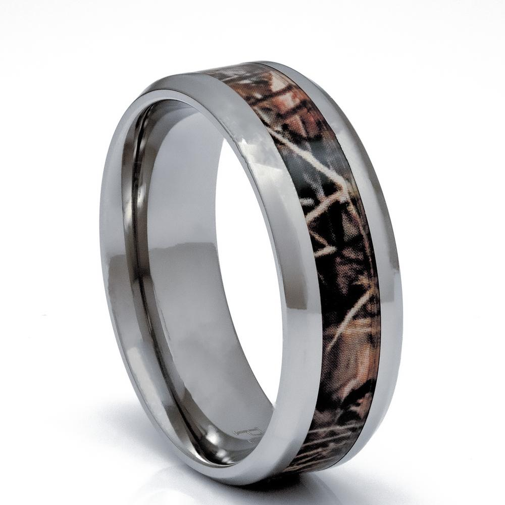 Men's Titanium Camouflage Ring, 8mm Comfort Fit Wedding Band - PCH Rings