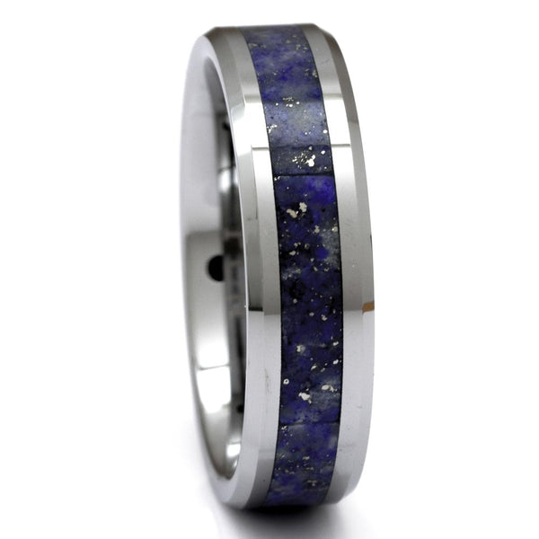 Tungsten Ring With Blue Lapis Lazuli Inlay, 6mm Comfort Fit Wedding Band - PCH Rings