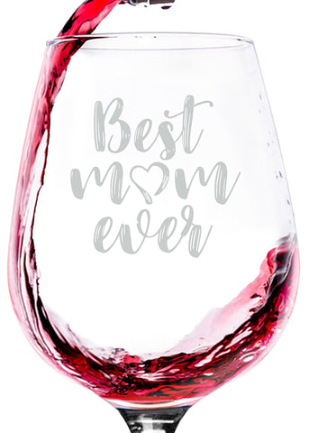 best mom ever wine glass gift funny novelty glasses for mothers day parent best gift for birthday idea from son daughter kids husband to wife nice christmas present xmas stocking stuffer number one 1 mom world