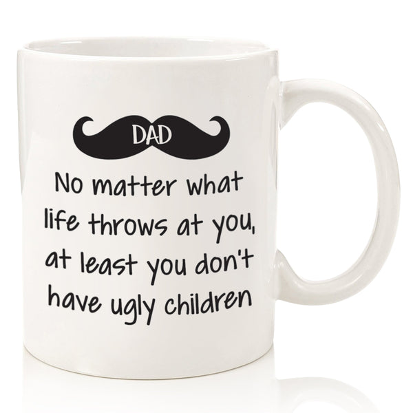 funny coffee mug novelty cup for dad fathers day from daughter son ugly children mustache