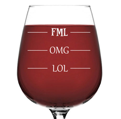 LOL-OMG-FML Funny Wine Glass - Best Birthday Gifts For Mom, Dad - Unique Gift For Men, Women, Him, Her - Cool Present Idea From Husband, Wife, Son or Daughter - Fun Novelty Glass For a Friend, Sister - 13 oz
