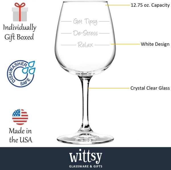 Get Tipsy Funny Wine Glass - Best Birthday Gifts For Mom - Unique Gift For Women, Her - Cool Mothers Day Present Idea From Husband, Son or Daughter - Fun Novelty Glass For Wife, Sister or Friend - 13 oz