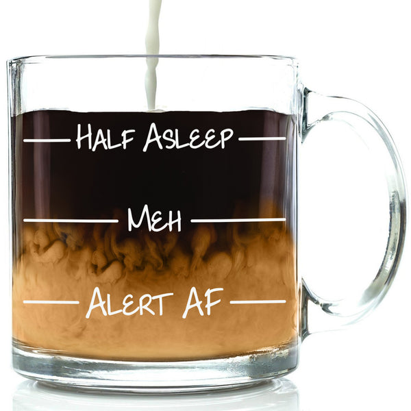 half asleep meh alert af as fuck funny mug clear glass coffee mug levels lines best gift for office coworker friend men women him her student unique birthday gift idea from hilarious christmas present xmas stocking stuffer gift exchange