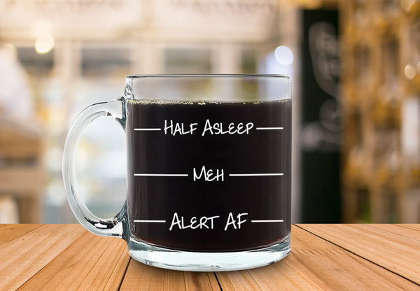 Half Asleep Funny Glass Coffee Mug - Best Birthday Gift For Men & Women - Fun & Unique Office Cup - Novelty Present Idea For Friends, Mom, Dad, Husband, Wife, Boyfriend, Girlfriend, Coworkers - 13 oz