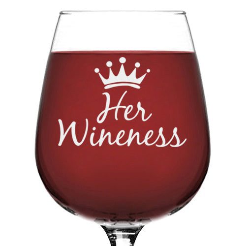 Her Wineness Funny Queen Wine Glass - Best Birthday Gifts For Mom - Unique Gift For Women, Her - Cool Mothers Day Present Idea From Husband, Son or Daughter - Fun Novelty Glass For a Wife or Friend - 13 oz