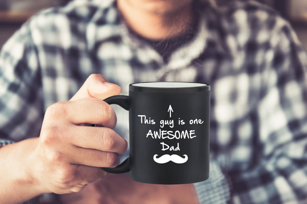 One Awesome Dad Funny Coffee Mug - Best Birthday Gifts For Dad, Men - Unique Fathers Day Gift Idea For Him From Son, Daughter, Wife - Cool Present For a New Father or Husband - Fun Novelty Cup - 11 oz