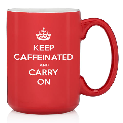 keep caffeinated and carry on funny red coffee mug keep calm cup gift for student graduation nurse teacher office coworker present christmas xmas stocking stuffer birthday bday best gift