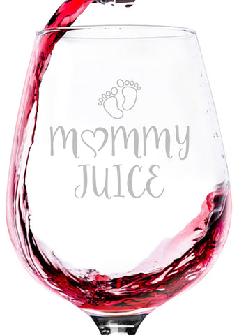 mommy juice funny wine glass for mom women new parent best gift for birthday idea christmas present xmas stocking stuffer wine kids children baby