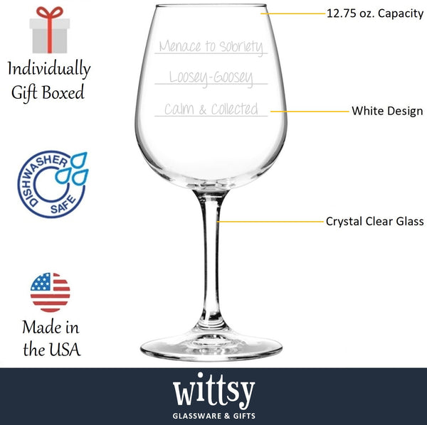 Menace To Sobriety Funny Wine Glass - Best Birthday Gifts For Her - Unique Gift For Adult Women - Cool Present Idea For Wife From Husband - Fun Novelty Glass For Mom, Sister, Friend, Daughter - 13 oz