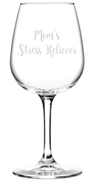 Mom's Stress Reliever Funny Wine Glass - Best Birthday Gifts For Mom, Women - Unique Mothers Day Gift Idea From Husband, Son, Daughter -Fun Novelty Present For a Wife, Friend, Adult Sister, Her -13 oz