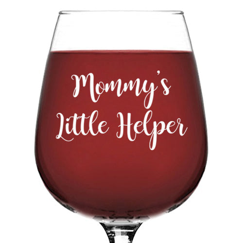 Mommy's Little Helper Funny Wine Glass - Best Birthday Gifts For Mom, Women - Unique Mothers Day Gift Idea From Husband, Son, Daughter - Fun Novelty Present For a New Mom, Wife, Friend, Sister, Her - 13 oz