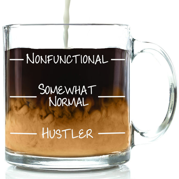 nonfunctional normal hustler funny mug glass coffee cup levels lines best office gift for coworker friend men women him her brother dad mom unique christmas present idea xmas stocking stuffer birthday gift