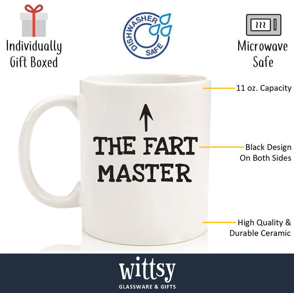 The Fart Master Funny Coffee Mug - Best Birthday Gifts For Dad, Men - Unique Fathers Day Gift Idea For Him From Son, Daughter, Wife - Gag Present For Husband, Brother, Boyfriend - Fun Novelty Cup - 11 oz