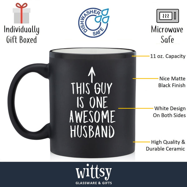 One Awesome Husband Funny Coffee Mug - Best Birthday or Anniversary Gifts For Husband, Men, Him - Unique Present Idea From Wife - Fun Novelty Cup For the Mr, Hubby, Partner - 11 oz Matte Black Ceramic