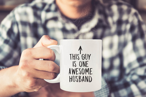 One Awesome Husband Funny Coffee Mug - Best Birthday or Anniversary Gifts For Husband, Men, Him - Unique Present Idea From Wife - Fun Novelty Cup For the Mr, Hubby, Partner - 11 oz Ceramic (White)