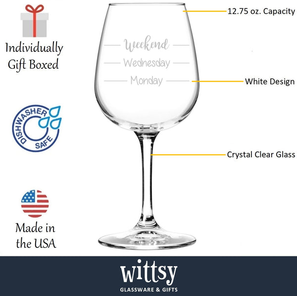 Weekend Funny Wine Glass - Best Birthday Gifts For Mom - Unique Gift For Women, Her - Cool Mothers Day Present Idea From Husband, Son or Daughter - Fun Novelty Glass For Wife, Sister or Friend - 13 oz