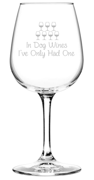 In Dog Wines Funny Wine Glass - Best Birthday Gift For Mom or Dad - Unique Gift For Dog Lover, Women, Men - Cool Mothers Day Present From Husband, Son, Daughter - Fun Novelty Glass For a Wife, Friend - 13 oz