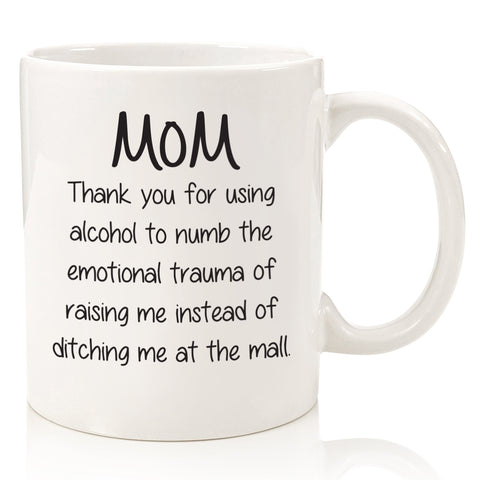 dear mom thank you for using alcohol funny coffee mug cup for mothers day from son daughter best birthday gift ideas novelty christmas present xmas stocking stuffer