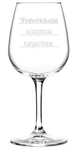 Trainwreckable Funny Wine Glass - Best Birthday Gifts For Her - Unique Gift For Adult Women -Cool Present Idea For Wife From Husband - Fun Novelty Glass For Mom, Sister, Friend or Daughter - 13 oz