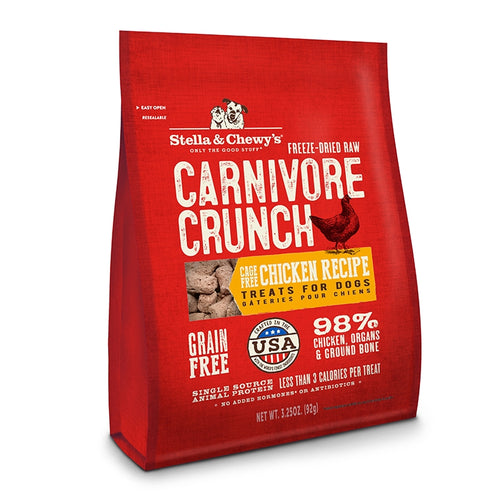 Stella & Chewy's Carnivore Crunch Cage- Chicken Recipe Freeze-Dried Raw Dog Treats-Store For The Dogs