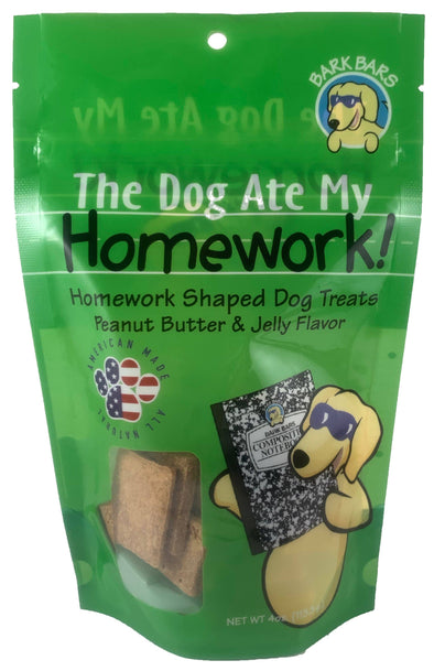 The Dog Ate My Homework Peanut Butter & Jelly Flavor Dog Treats by Bark Bars-Store For The Dogs