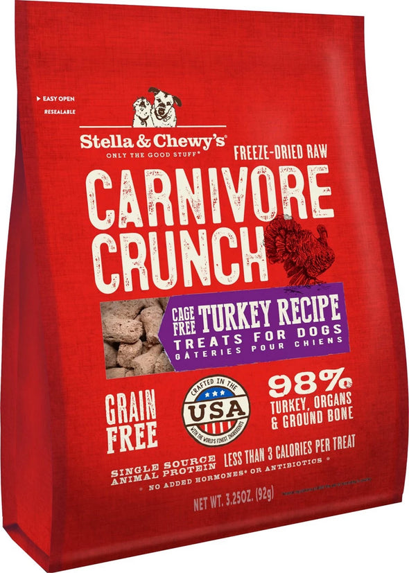 Stella & Chewy's Carnivore Crunch Cage-Free Turkey Recipe Freeze-Dried Raw Dog Treats-Store For The Dogs