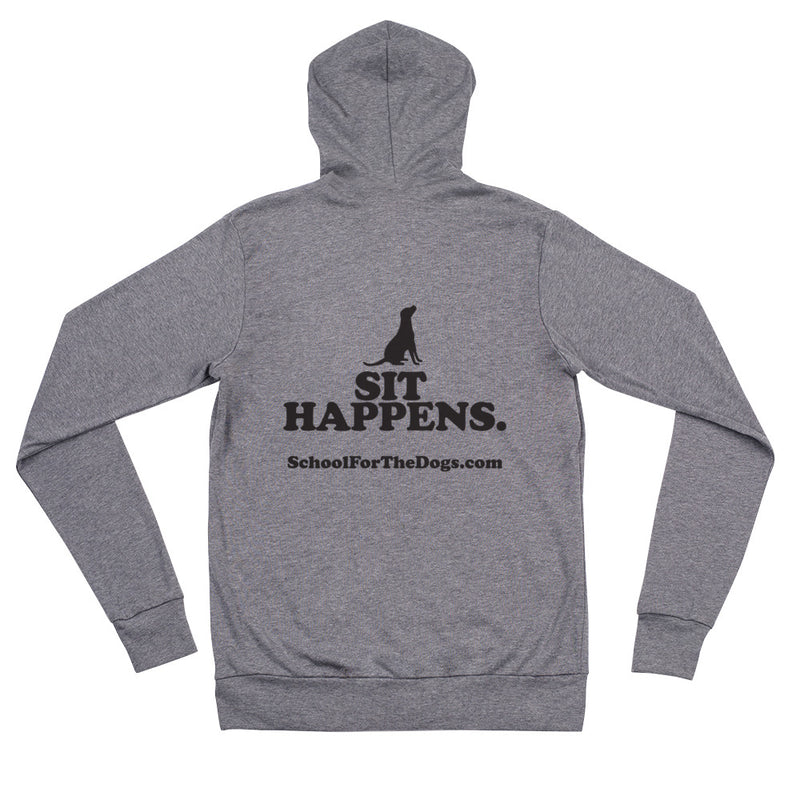 "School For The Dogs ""Sit Happens"" Bella + Canvas Unisex Zip Hoodie-Store For The Dogs"