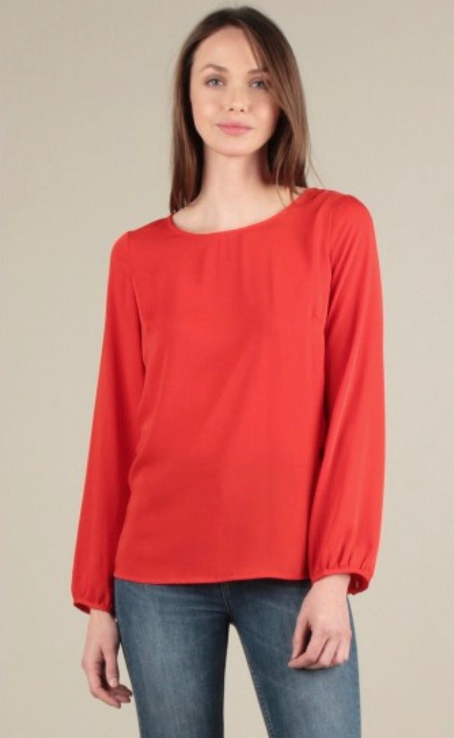 Ruffled Cutout Back Blouse