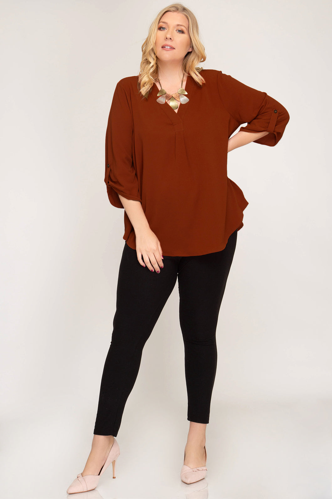 3/4 Roll Up Sleeve V-Neck Top