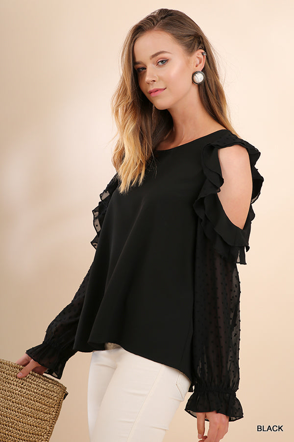 Ruffled Open Shoulder Top with Polka Dot Sheer Sleeves