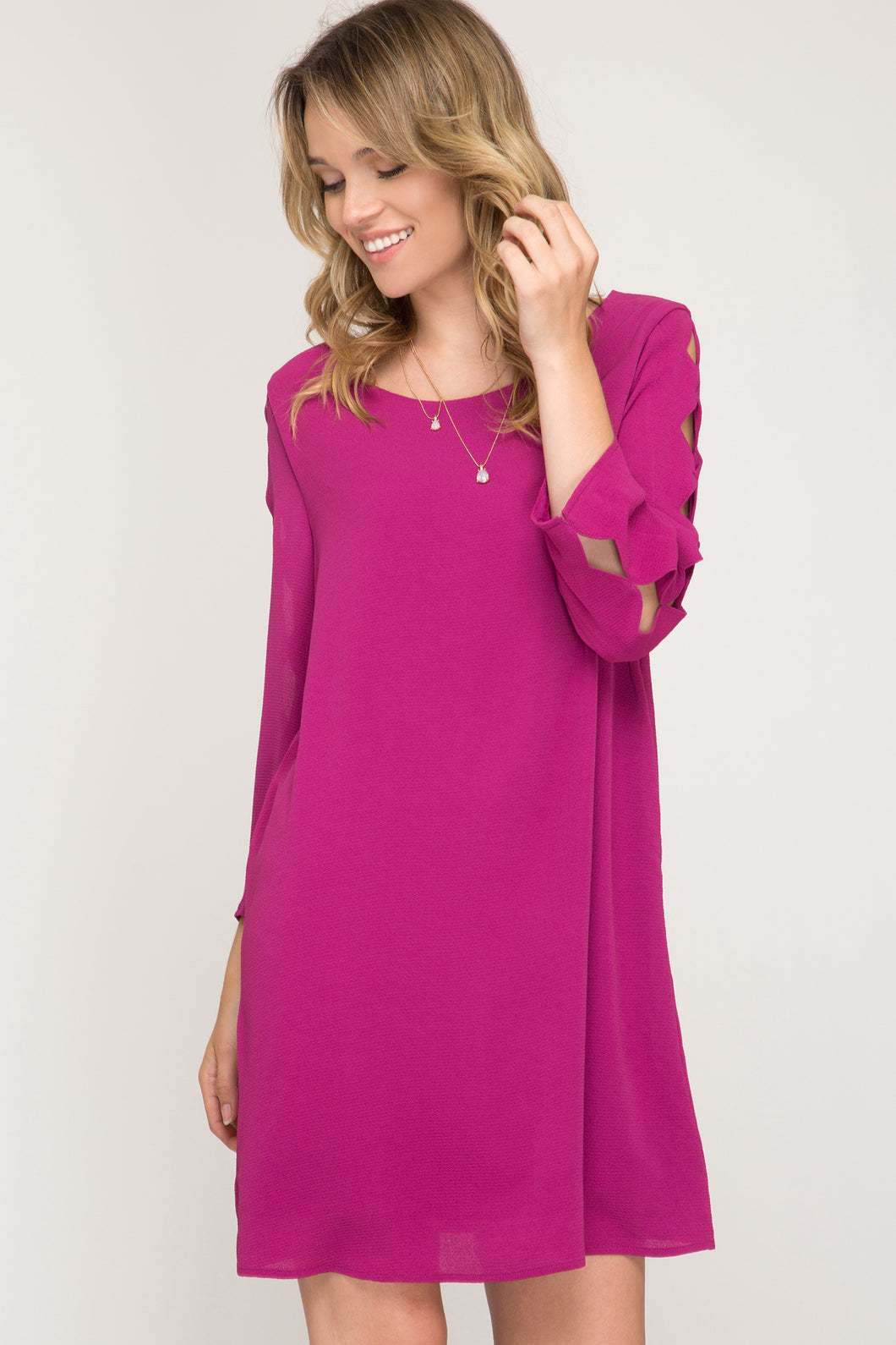 3/4 Sleeve Dress with Scalloped Sleeve