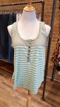 Sleeveless Striped Button Up W/ Chest Pocket