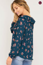 Long Sleeve Floral Top with Ruffle Neck