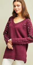 V-Neck Sweater with Pearl Detail
