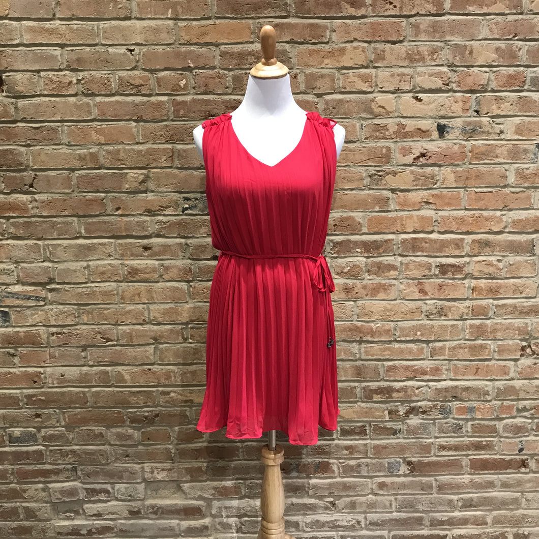 Pleat Dress With Braided Waist Tie and Ruffle Detail