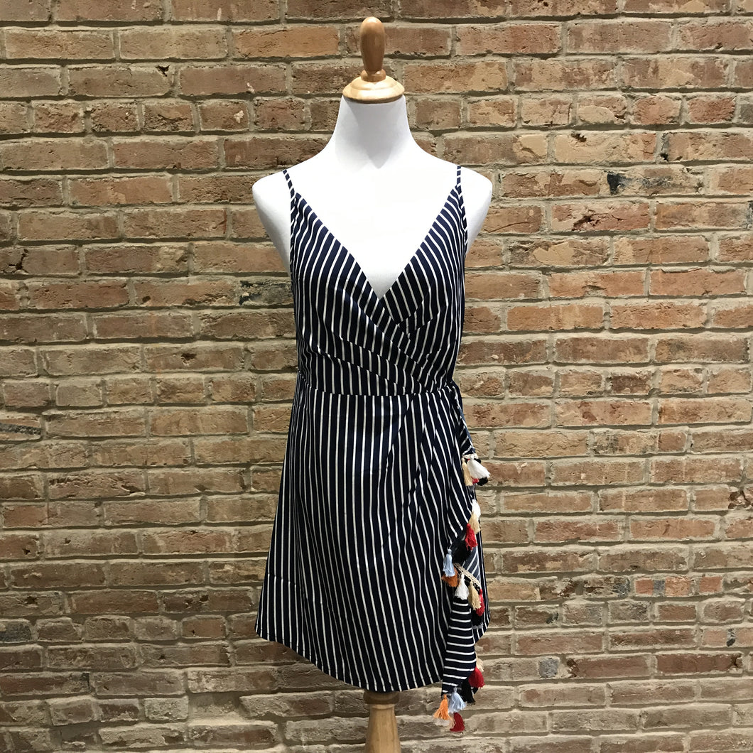 Stripe Knit Wrap Dress