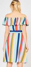 Multi Stripe Button Up Dress w/ Self Tie