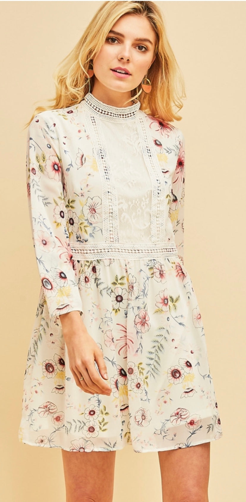 Floral Mock Neck Dress