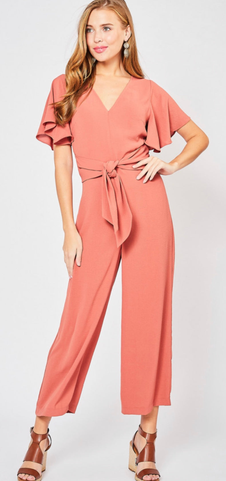 V-Neck Jumpsuit w/ Self Tie
