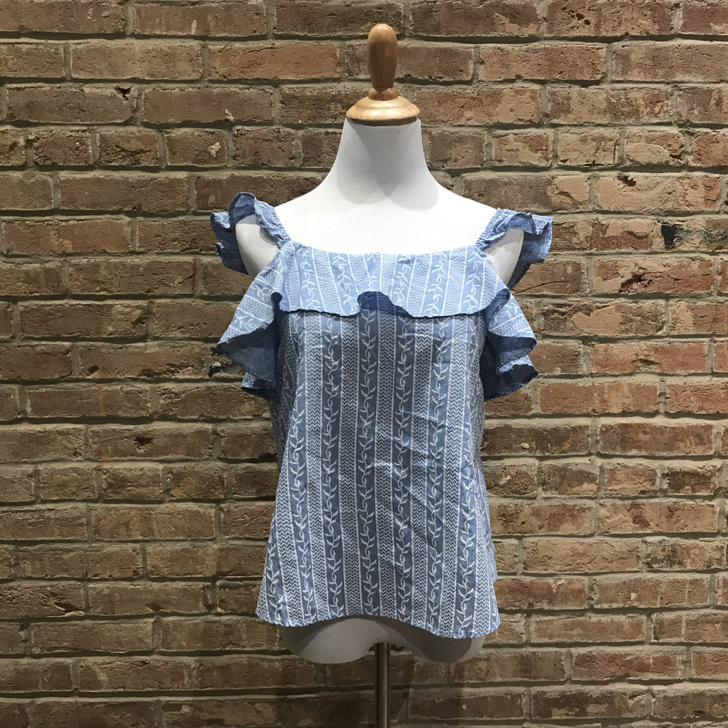 Woven Blue Top With Ruffles